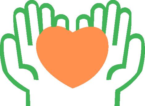 desenho de uma mão segurando um coração